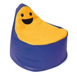 Pouf Faccina blu-giallo.