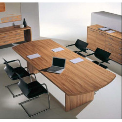Tavolo riunione direzionale rettangolare con testata sagomata.