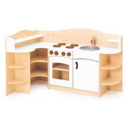 Cucina Angolare in legno bianca.